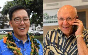 STAR-ADVERTISER                                 Honolulu mayoral candidates Keith Amemiya and Rick Blangiardi.