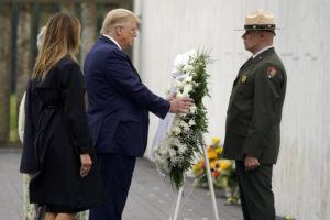 ASSOCIATED PRESS                                 President Donald Trump laid a wreath at a 19th-anniversary observance of the Sept. 11 terror attacks, at the Flight 93 National Memorial in Shanksville, Pa., today.