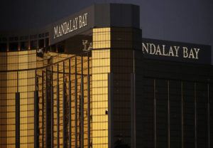 ASSOCIATED PRESS / OCT. 2017                                 Broken windows could be seen at the Mandalay Bay resort and casino in Las Vegas, at the room from where Stephen Craig Paddock fired on a nearby music festival, killing 58 and injuring others, on Oct. 1, 2017. An $800 million settlement by casino giant MGM Resorts International could be in the hands of more than 4,400 relatives and victims of the deadliest mass shooting in recent U.S. history by January 2021.