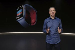 APPLE VIA ASSOCIATED PRESS                                 Apple's Chief Operating Officer Jeff Williams unveiled Apple Watch Series 6, today. Apple is introducing the cheaper version of its smartwatch in its latest attempt to broaden the appeal of its trend-setting products while more consumers are forced to scrimp during ongoing fallout from the pandemic.