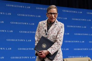 ASSOCIATED PRESS                                 Supreme Court Justice Ruth Bader Ginsburg leaves the stage after speaking to first-year students at Georgetown Law in Washington in 2018. The Supreme Court says Ginsburg has died of metastatic pancreatic cancer at age 87.