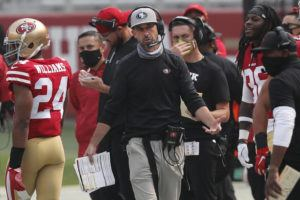 ASSOCIATED PRESS                                 San Francisco 49ers head coach Kyle Shanahan walked on the sideline during the second half of a game against the Arizona Cardinals in Santa Clara, Calif., Sunday.