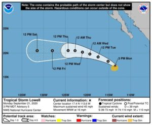 NATIONAL HURRICANE CENTER                                 The 5-day forecast track for Tropical Storm Lowell in the Eastern Pacific.