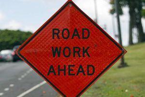 CINDY ELLEN RUSSELL / 2014                                 A road work sign.