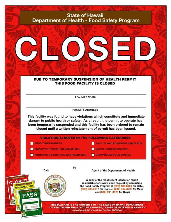 "COURTESY HAWAII DEPARTMENT OF HEALTH                                 The Hawaii Department of Health has issued a red ""Closed"" placard to Bale Sandwich & Vietnamese Food restaurant in Kihei due to a roach infestation in the kitchen."