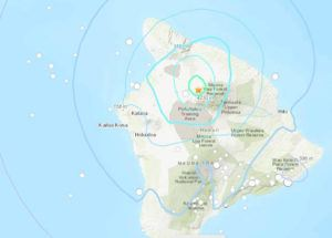 COURTESY USGS                                  The star on this U.S. Geological Survey map shows the approximate location of today's mild earthquake on the Big Island.