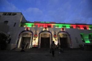 """JAMM AQUINO / DEC. 9                                 Honolulu Hale in downtown Honolulu is lit up for the holidays. The City and County of Honolulu has extended the use of its $500 """"City Card"""" for disadvantaged families by two days to Tuesday at 11:59 p.m."""
