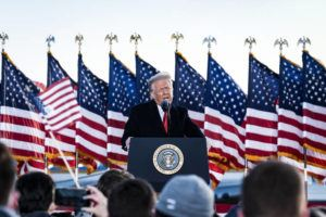 NEW YORK TIMES                                 President Donald Trump speaks to supporters before boarding Air Force One for the last time at Joint Base Andrews in Maryland, today, hours before the presidential inauguration of Joe Biden.