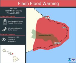 COURTESY NATIONAL WEATHER SERVICE                                 A flash flood warning for Maui.