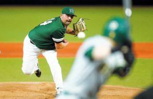 STAR-ADVERTISER                                 Hawaii pitcher Logan Pouelsen pitched against the North Dakota State Bison, Feb. 14, during the first inning of a game at Les Murakami Stadium. The University of Hawaii will play 51 games this season, leading off with the three-game, non-conference set against Arizona State in Tempe, Ariz.