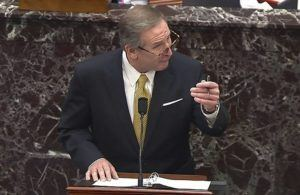 SENATE TELEVISION VIA ASSOCIATED PRESS                                 Michael van der Veen, an attorney for former President Donald Trump, spoke during the second impeachment trial of Trump in the Senate at the U.S. Capitol in Washington, today.