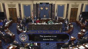 SENATE TELEVISION VIA AP The final vote total of 57-43, to acquit former President Donald Trump of the impeachment charge, incitement of insurrection, in the Senate at the U.S. Capitol in Washington.