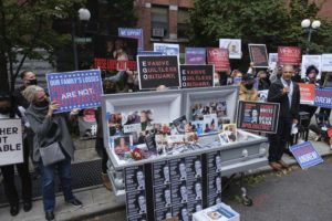 ASSOCIATED PRESS                                 Families of COVID-19 victims who passed away in New York nursing homes gather in front of the Cobble Hill Heath Center to demand that New York Gov. Andrew Cuomo apologize for his response to the coronavirus in nursing homes during the pandemic on Oct. 18.