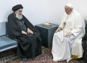 ASSOCIATED PRESS                                 Pope Francis, right, meets with Iraq's leading Shiite cleric, Grand Ayatollah Ali al-Sistani in Najaf, Iraq, today. The closed-door meeting was expected to touch on issues plaguing Iraq's Christian minority.