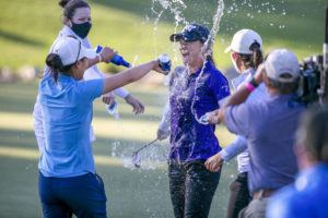 ASSOCIATED PRESS                                 Austin Ernsts celebrates her win and gets a beer bath from fellow golfer Danielle Kang at the final round of the LPGA golf tournament in Ocala, Fla., today.