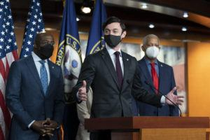 ASSOCIATED PRESS                                 Sen. Jon Ossoff, D-Ga., center, spoke, today, accompanied by Sen. Raphael Warnock, D-Ga., left, and Rep. Hank Johnson, D-Ga., during a news conference, before the vote on the Democrat's $1.9 trillion COVID-19 relief bill, on Capitol Hill, in Washington.