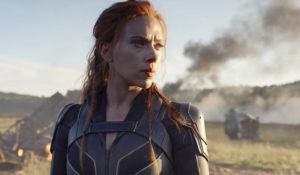"""ASSOCIATED PRESS                                 This image released by Disney/Marvel Studios' shows Scarlett Johansson in a scene from """"Black Widow."""""""