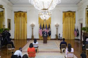 ASSOCIATED PRESS                                 President Joe Biden speaks during a news conference in the East Room of the White House today.