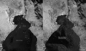 COURTESY EUROPEAN SPACE AGENCY VIA AP                                 This satellite image shows on the left, routine maritime traffic in the Suez Canal with vessels on Sunday and on the right, maritime traffic backed up on the canal on Thursday.