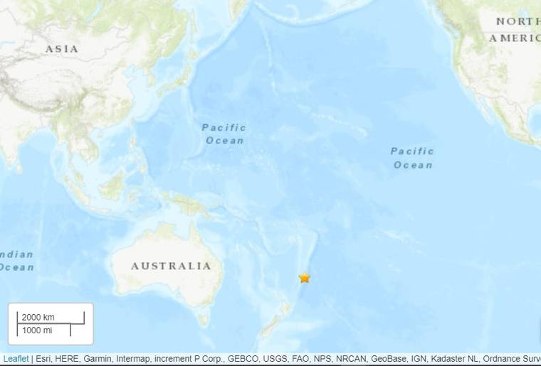 U.S. GEOLOGICAL SURVEY                                 A preliminary magnitude 7.5 earthquake struck off the Kermadec Islands in New Zealand but does not pose a tsunami threat to Hawaii.