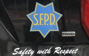 ASSOCIATED PRESS                                 A San Francisco Police vehicle in San Francisco, in May 2020. A 76-year-old woman from China who fought back against a man who punched her on a downtown San Francisco street corner said the unprovoked attack left her scared and traumatized. Her alleged assailant was arrested Thursday.