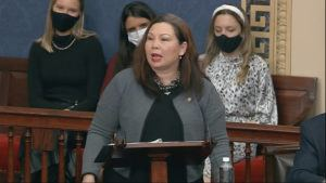 SENATE TELEVISION VIA AP                                 In this image from video, Sen. Tammy Duckworth, D-Ill., speaks as the Senate reconvenes after protesters stormed into the U.S. Capitol on Jan. 6.