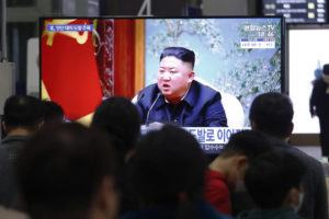ASSOCIATED PRESS                                 People watch a TV showing a file image of North Korean leader Kim Jong Un during a news program at the Suseo Railway Station in Seoul, South Korea, Thursday.