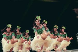 "JAMM AQUINO / 2019                                 The women of Halau Ka Lei Mokihana o Leina`ala, of Kalaheo, Kauai, under the direction of kumu Leina`ala Pavao Jardin, perform ""Na Mele Welo O Halele'a"" during the hula 'auana competition in the 56th annual Merrie Monarch Festival in Hilo."