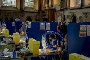 NEW YORK TIMES / JANUARY 23                                 A mass vaccination site at the Cathedral in Salisbury, England.