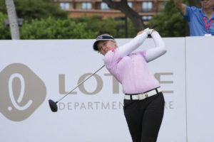 CRAIG T. KOJIMA / APRIL 12, 2018                                 Brooke Henderson tees off at the Lotte Championship tournament at Ko Olina in 2018. The tournament will move to the Kapolei Golf Course this year.