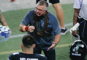 JAMM AQUINO / NOV. 21                                 Hawaii head coach Todd Graham instructed his team during the first half against the Boise State Broncos last November at Aloha Stadium.