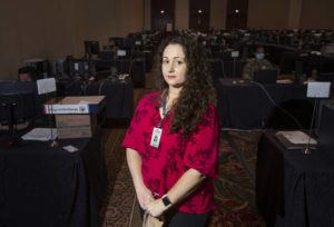 STAR-ADVERTISER                                 Dr. Emily Roberson stood in the room where contact tracers worked at the Hawai'i Convention Center on Sept. 11, 2020. Roberson, who was hired in July to oversee the state Department of Health's COVID-19 contact tracing program and restore public trust in state government efforts to bring the pandemic under control, has resigned.