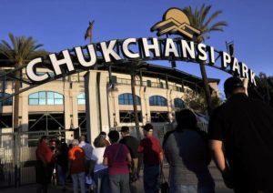 ASSOCIATED PRESS / 2015                                 Fans arrive at Chukchansi Park in Fresno, Calif., for a minor-league baseball game between the Fresno Grizzlies and the Round Rock Express.