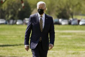ASSOCIATED PRESS                                 President Joe Biden walked over to speak to members of the media after arriving on the Ellipse on the National Mall after spending the weekend at Camp David, Monday, in Washington.