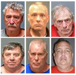 NEW HAMPSHIRE ATTORNEY GENERAL'S OFFICE VIA ASSOCIATED PRESS                                 From top row left, Bradley Asbury, Jeffrey Buskey and Frank Davis; bottom row from left, Lucien Poulette, James Woodlock and Stephen Murphy. The six men were arrested, today, in connection with sexual abuse allegations at New Hampshire's state-run youth detention center, the attorney general's office said.