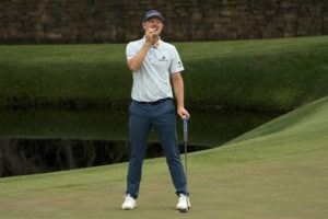 ASSOCIATED PRESS                                 Justin Rose, of England, reacts to missing a birdie putt on the 11th hole during the first round of the Masters golf tournament today in Augusta, Ga.