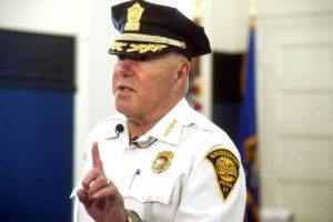 """NED GERARD/HEARST CONNECTICUT MEDIA VIA ASSOCIATED PRESS                                 Bridgeport Police Chief Armando """"A.J."""" Perez spoke, in April 2019, during an interview at the Police Training Academy in Bridgeport, Conn. The former police chief of Connecticut's largest city has been sentenced to one year in prison for rigging the hiring process that led to his appointment in 2018."""