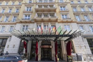 ASSOCIATED PRESS                                 Exterior view of the 'Grand Hotel Wien' in Vienna, Austria, Friday, where closed-door nuclear talks with Iran took place.