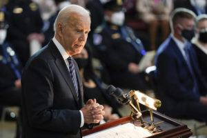 """ASSOCIATED PRESS                                 President Joe Biden spoke during a ceremony to honor slain U.S. Capitol Police officer William """"Billy"""" Evans as he laid in honor at the Capitol in Washington, today."""
