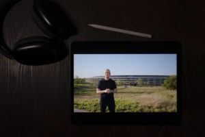 ASSOCIATED PRESS                                 Apple CEO Tim Cook spoke during a virtual event to announce new Apple products, today.