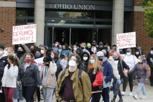 ASSOCIATED PRESS                                 Students leave the Ohio Union on the campus of Ohio State University to protest the shooting of Ma'Khia Bryant a day earlier by Columbus Police.