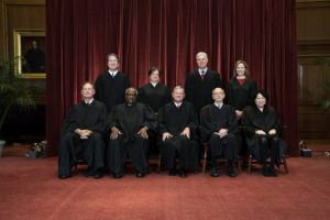 ASSOCIATED PRESS                                 Members of the Supreme Court posed for a group photo, April 23, at the Supreme Court in Washington. Seated from left were Associate Justice Samuel Alito, Associate Justice Clarence Thomas, Chief Justice John Roberts, Associate Justice Stephen Breyer and Associate Justice Sonia Sotomayor. Standing from left were Associate Justice Brett Kavanaugh, Associate Justice Elena Kagan, Associate Justice Neil Gorsuch and Associate Justice Amy Coney Barrett.