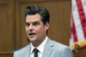 ASSOCIATED PRESS / APRIL 14                                 Rep. Matt Gaetz, R-Fla., questions witness during a House Armed Services Committee hearing on Capitol Hill in Washington.