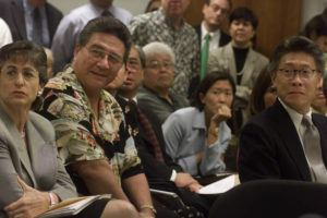 STAR-ADVERTISER / 2004                                 Gov. Linda Lingle, left, and Bob Awana sat together during a legislative hearing on March 10, 2004. The two met in 1997 when Awana was a lobbyist on Maui for a landfill and waste disposal company and Lingle was Maui's mayor.