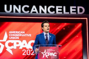 NEW YORK TIMES / FEBRUARY 26                                 Rep. Matt Gaetz (R-Fla.) addresses the Conservative Political Action Conference in Orlando, Fla.
