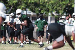 COURTESY UNIVERSITY OF HAWAII ATHLETICS / 2020                                 Head coach Todd Graham leads a football practice at the University of Hawaii Manoa Campus.