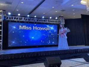 COURTESY MISS HAWAII ORGANIZATION                                 UH law student Courtney Choy moments after she was crowned Miss Hawaii 2021 at the Ala Moana Hotel.