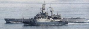 COURTESY U.S. NAVY                                 The Soviet Vishnya-class intelligence collection ship Kareliya (SSV-535, in the foreground) steamed alongside the U.S. Navy guided-missile cruiser USS Texas in 1988. Texas at the time was assigned to the aircraft carrier USS Carl Vinson for deployment in the Western Pacific.