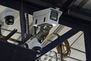 ASSOCIATED PRESS                                 One of the cameras used for automatic balls and strike calls is shown during the first inning of a Low A Southeast league baseball game between the Dunedin Blue Jays and the Tampa Tarpons at George M. Steinbrenner Field.