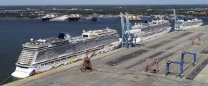 ASSOCIATED PRESS                                 Norwegian cruise ships are docked at Portsmouth Marine Terminal in Portsmouth, Va., on Tuesday.